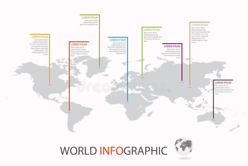 Calibre infographic du monde Carte du monde avec le marqueur sur chaque continent illustration de vecteur