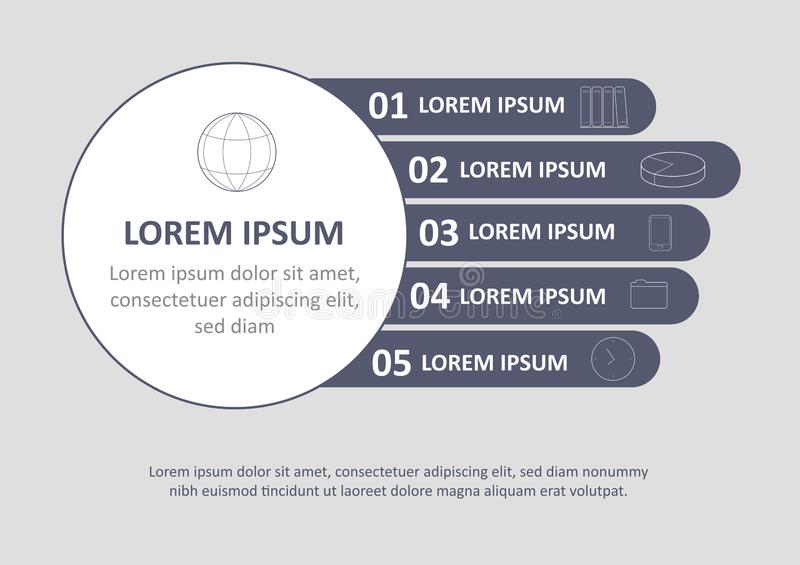 Calibre infographic minimal de brochure Pages avec des éléments de diagramme, de graphique et de diagramme Concept de visualisati illustration stock