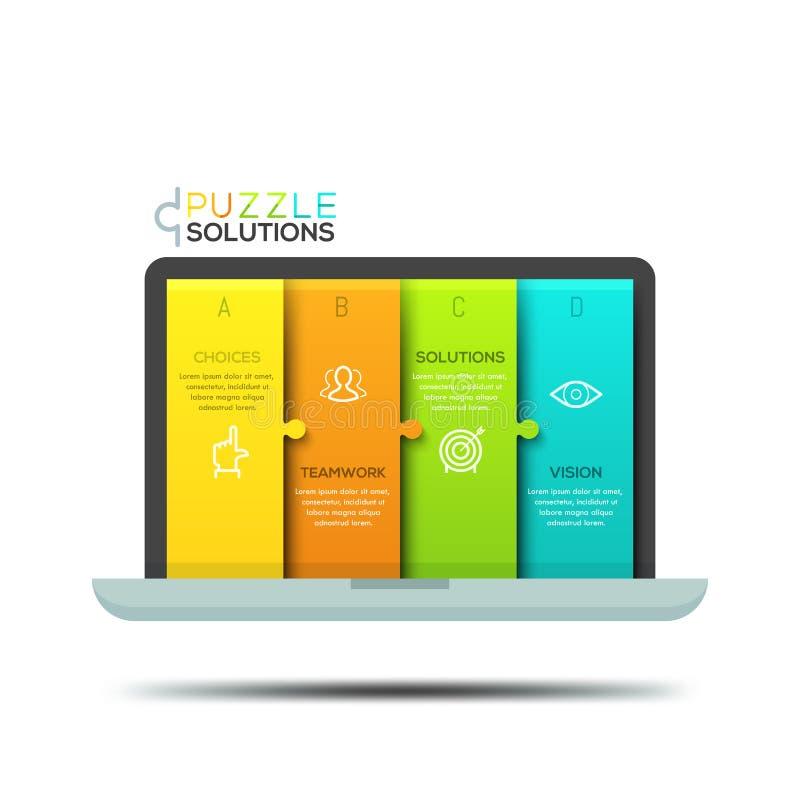 Calibre infographic moderne de conception, puzzle denteux dans la forme de l'écran d'ordinateur portable illustration libre de droits