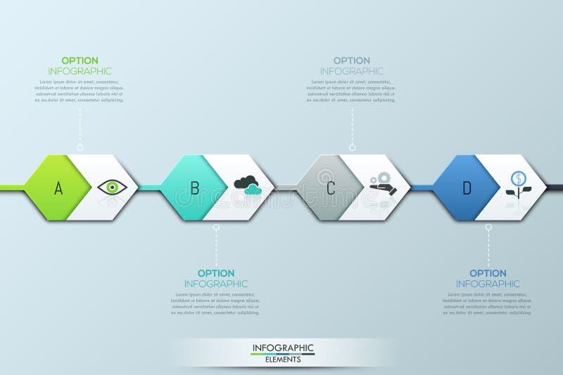 Calibre infographic moderne de conception Quatre éléments et zones de texte hexagonaux successivement reliés illustration de vecteur