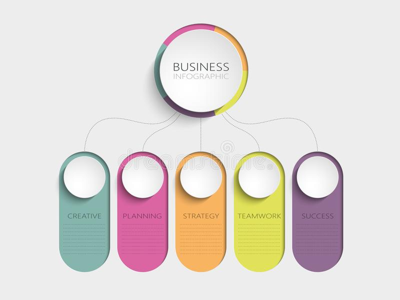 Calibre infographic moderne du résumé 3D avec cinq étapes pour le succès Calibre de milieu économique avec des options pour la br illustration stock