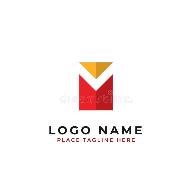 Calibre initial de logo de la lettre m boîte avec la conception négative de vecteur d'espace illustration de vecteur
