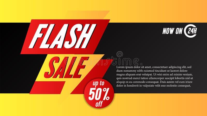 Calibre instantané de bannière de vente avec l'illustration plate de tonnerre illustration libre de droits