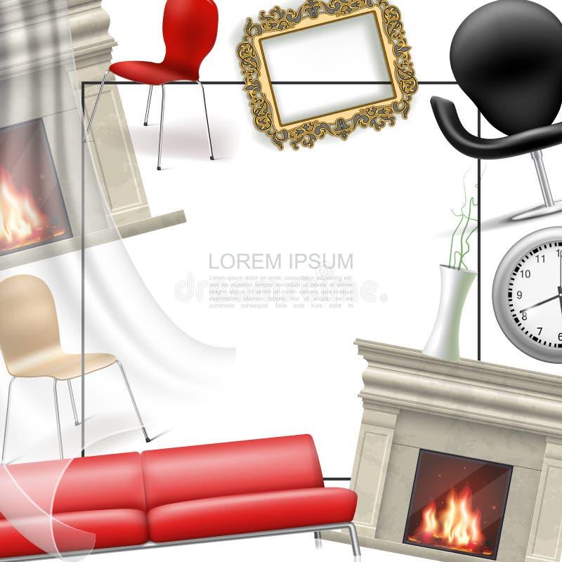 Calibre intérieur d'objets de Chambre réaliste illustration de vecteur