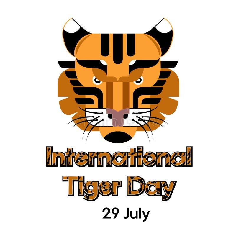 Calibre international d'affiche de jour de tigre avec la tête de tigre Illustration de vecteur illustration libre de droits
