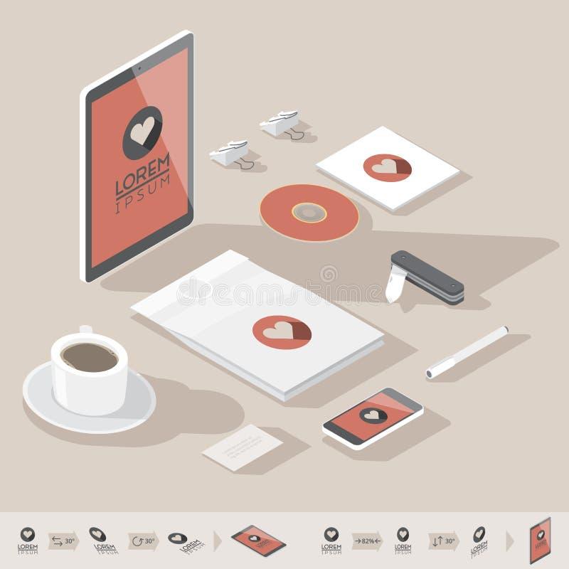 Calibre isométrique d'identité d'entreprise illustration libre de droits