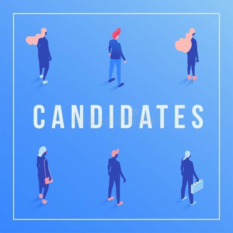 Calibre isométrique de bannière sociale de médias de candidats Employés attendant l'entrevue d'emploi, directeurs, hommes d'affai illustration libre de droits