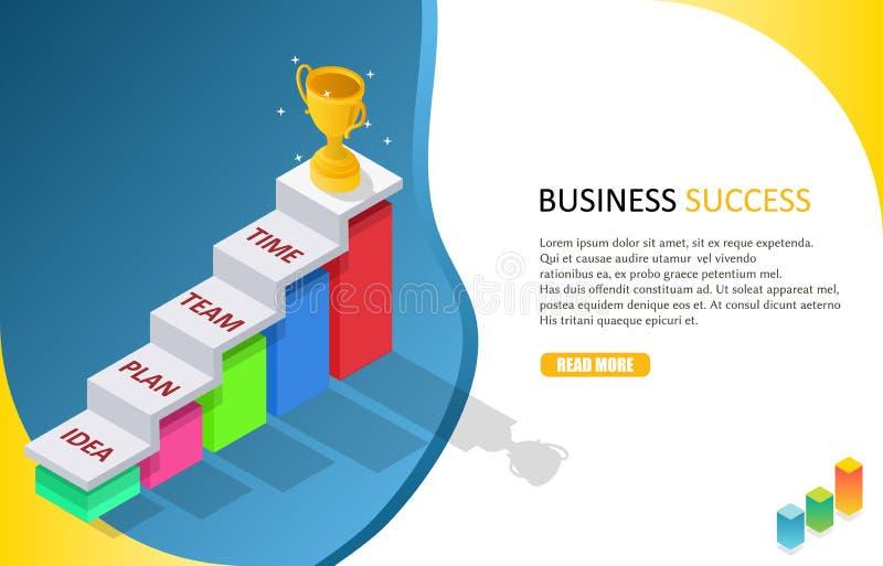 Calibre isométrique de bannière de Web de vecteur de réussite commerciale illustration stock