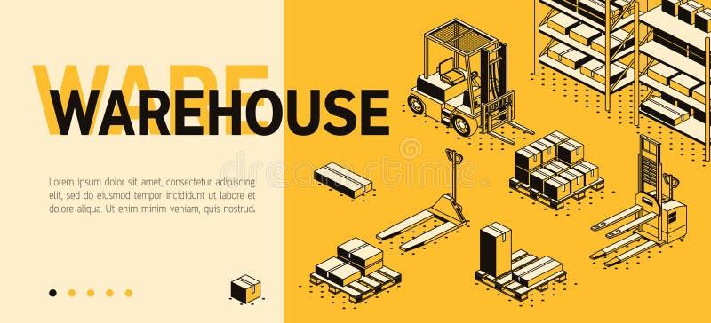 Calibre isométrique de site du vecteur 3d - entrepôt, stockage illustration libre de droits