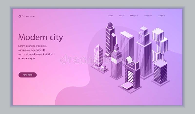 Calibre isométrique de Web de vecteur de ville futée B?timents intelligents Rues de ville futée reliées au réseau informatique illustration stock