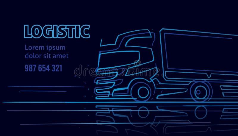 Calibre logistique/de chauffeur de camion/service de distribution visite de carte de visite professionnelle dans le style au néon images stock