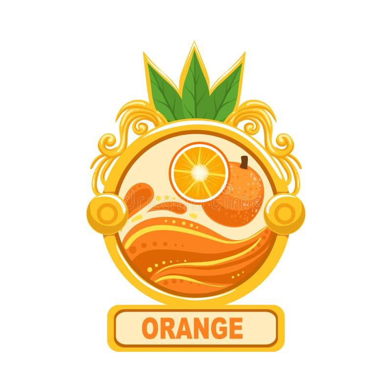 Calibre lumineux orange d'autocollant de label de confiture de couleur dans le cadre rond illustration stock