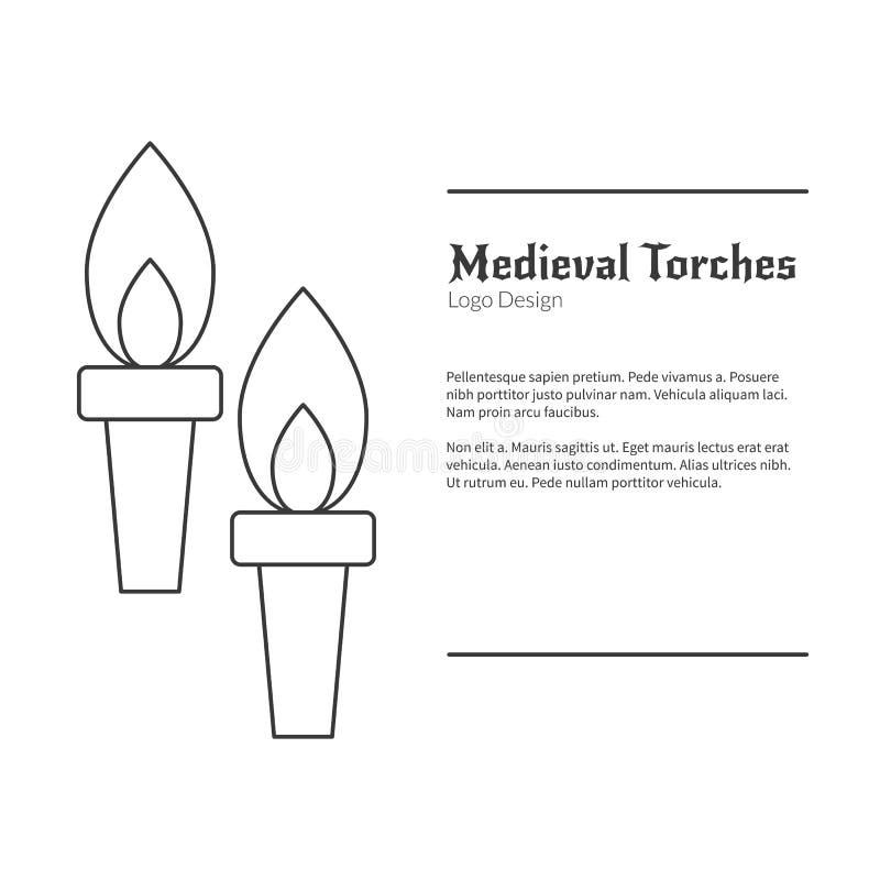 Calibre médiéval d'emblème de logo avec l'icône d'ensemble illustration de vecteur