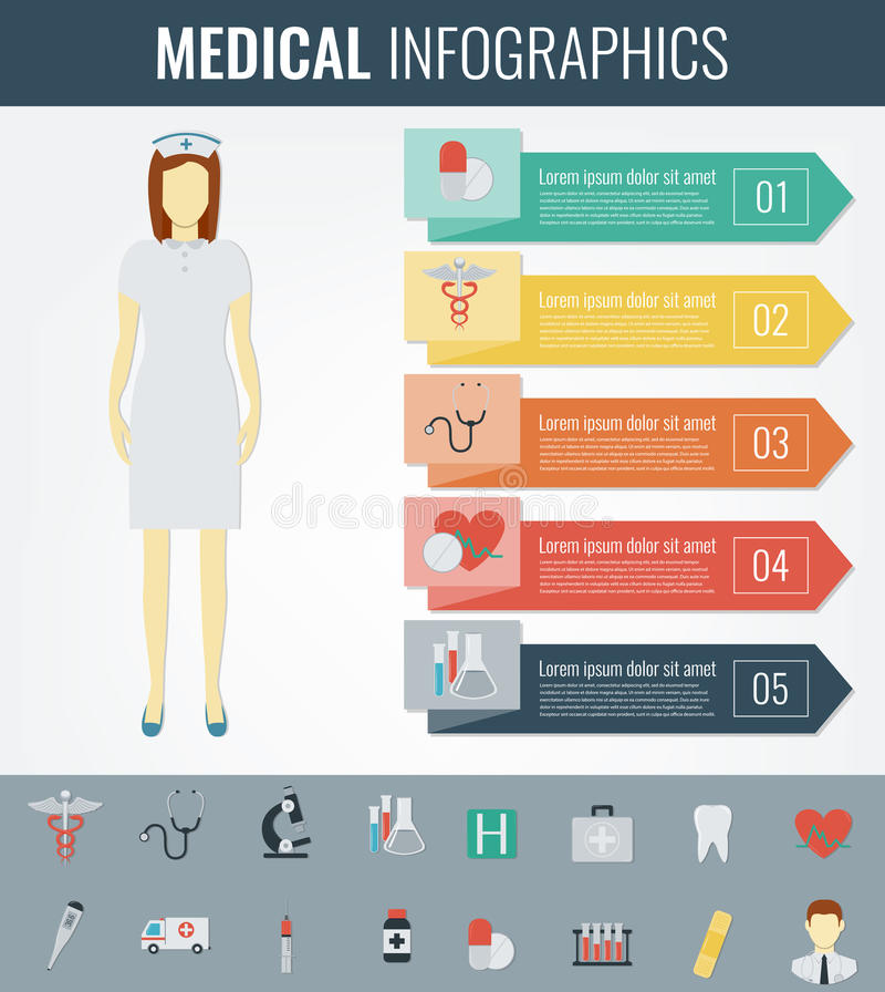 Calibre médical d'Infographic Soins de santé infographic Vecteur illustration de vecteur