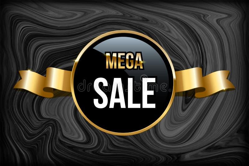 Calibre méga de conception de vente Dirigez les mots méga de vente sur le cercle noir avec l'anneau d'or et le ruban d'or sur le  illustration libre de droits