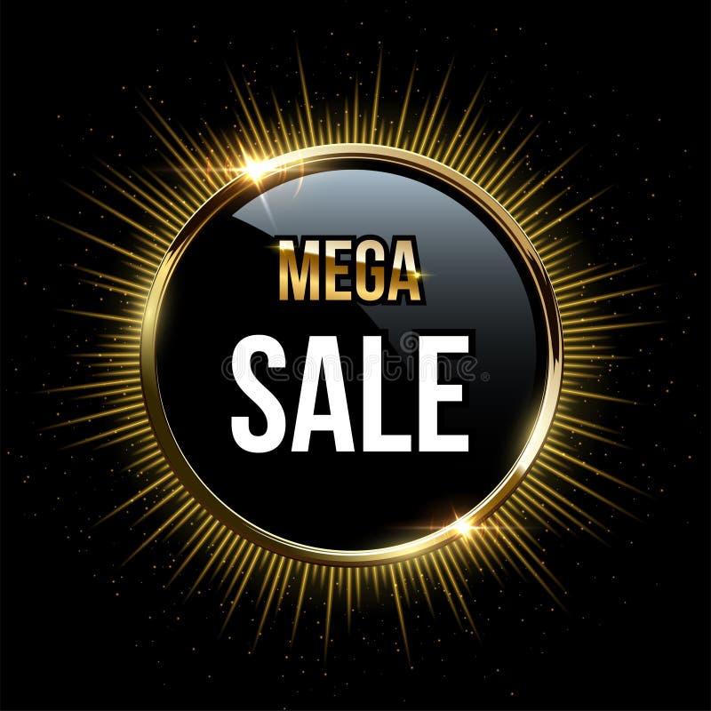 Calibre méga de conception de vente de vecteur Les mots méga de vente sur le cercle noir et le scintillement d'or sonnent avec le illustration libre de droits