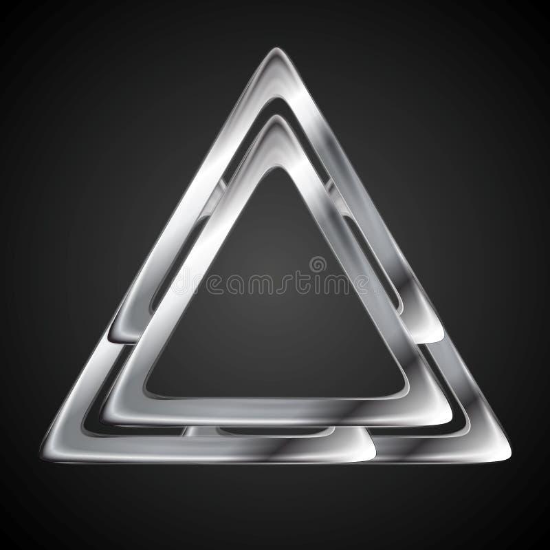 Calibre métallique abstrait de conception de logo de triangle illustration stock