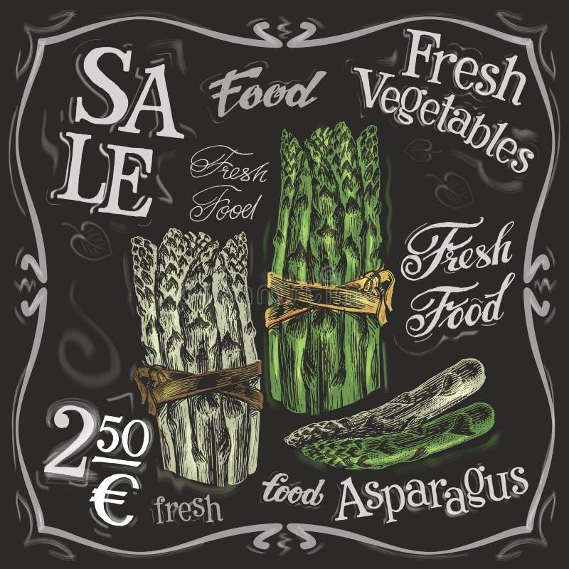 Calibre mûr de conception de logo de vecteur d'asperge frais illustration libre de droits