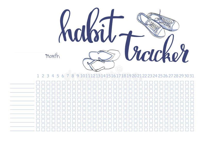 Calibre mensuel de blanc de traqueur d'habitude de planificateur illustration stock