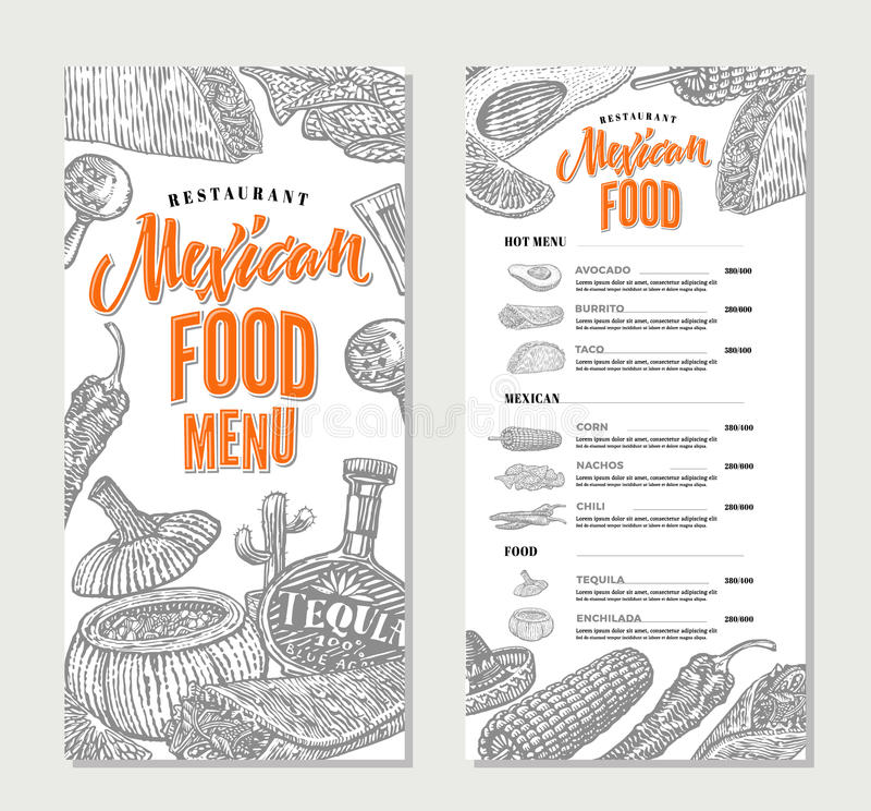 Calibre mexicain de menu de restaurant de nourriture illustration de vecteur