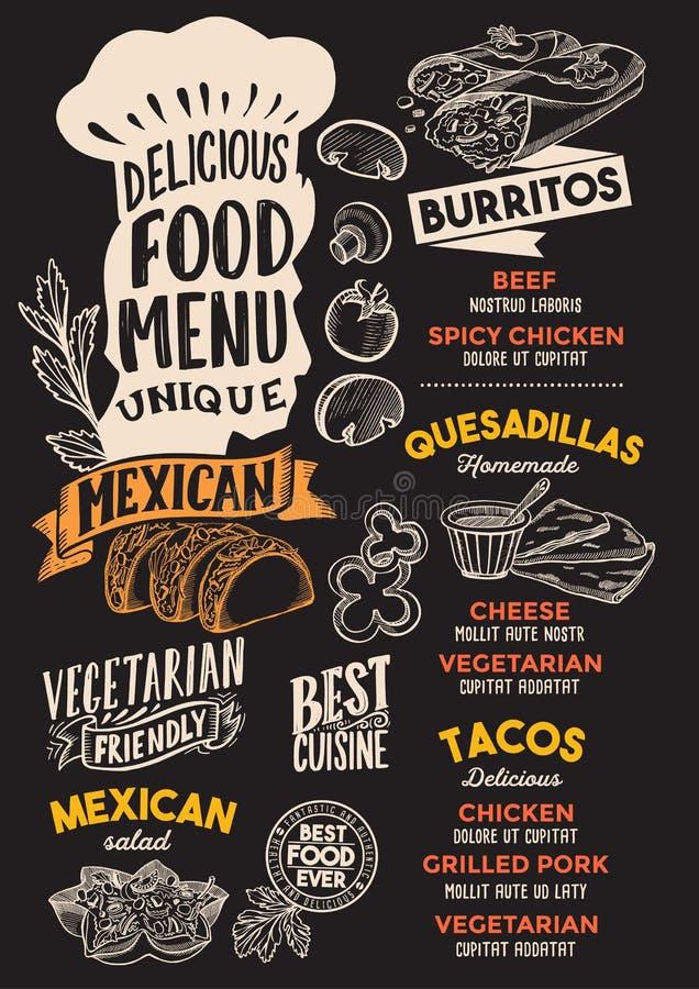 Calibre mexicain de menu de nourriture pour le restaurant avec le letteri de chapeau de chefs illustration de vecteur
