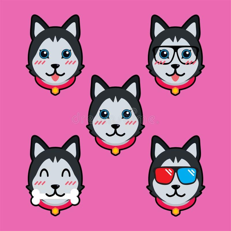 Calibre mignon d'illustration de conception de vecteur de bande dessinée de chien illustration de vecteur