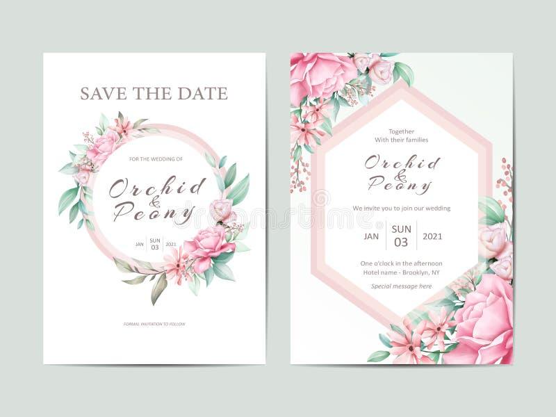 Calibre mignon d'invitation de mariage Cartes de pivoines et de roses d'aquarelle illustration stock