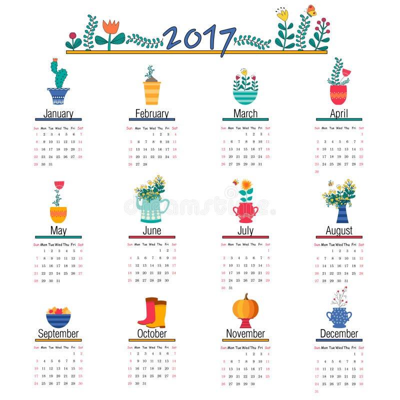 Calibre mignon de calendrier pour 2017 Belles fleurs drôles d'illustrations pour chaque mois illustration stock