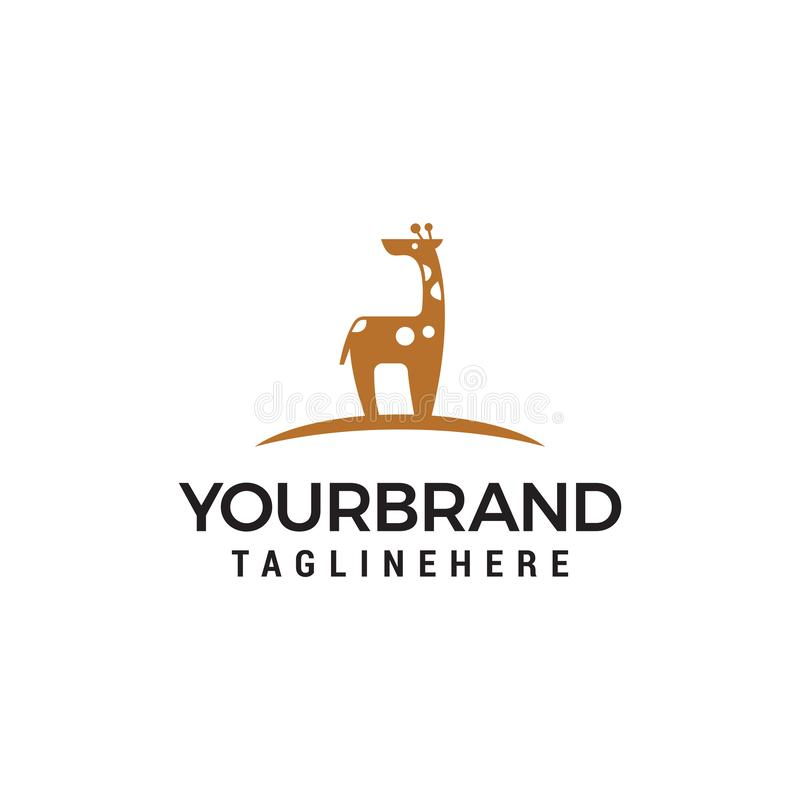 Calibre mignon de concept de construction de logo de girafe illustration stock