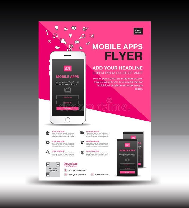 Calibre mobile d'insecte d'Apps Disposition de conception d'insecte de brochure d'affaires maquette d'icônes de smartphone illustration de vecteur