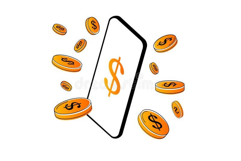 Calibre mobile d'isolement de conception de l'avant-projet de paiement de vecteur Les pièces de monnaie en ligne mobiles de paiem illustration libre de droits
