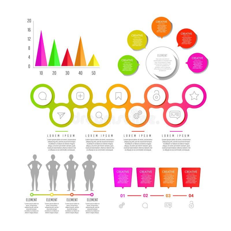 Calibre moderne créatif d'éléments de conception web Éléments de Web avec la navigation, boutons, icônes, blocs illustration libre de droits
