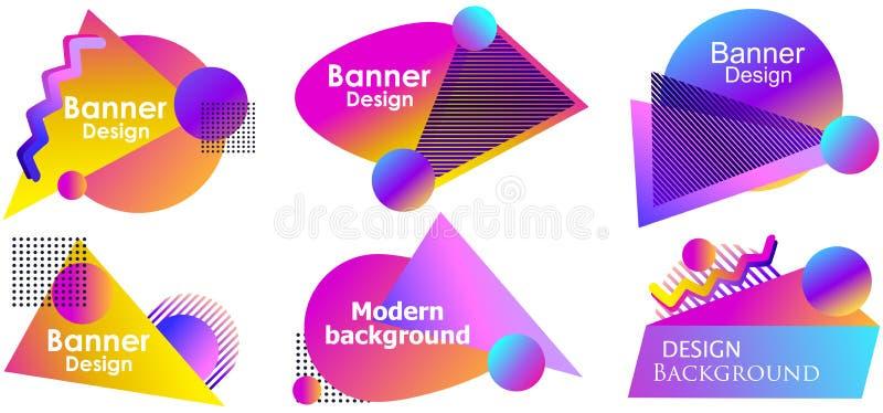 Calibre moderne d'ensemble de bannière de conception liquide de gradient Formes liquides colorées d'isolement sur le fond blanc V illustration libre de droits