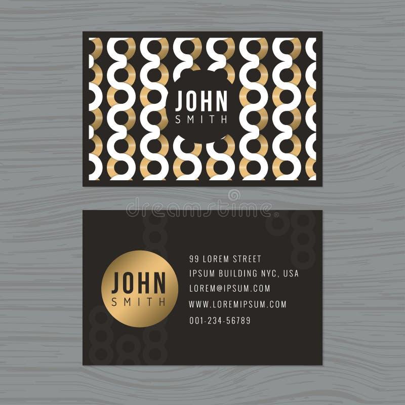 Calibre moderne de carte de visite professionnelle de visite à l'arrière-plan abstrait d'or Configuration abstraite Impression du illustration libre de droits