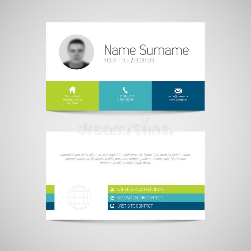 Calibre moderne de carte de visite professionnelle de visite avec l'interface utilisateurs plate illustration libre de droits