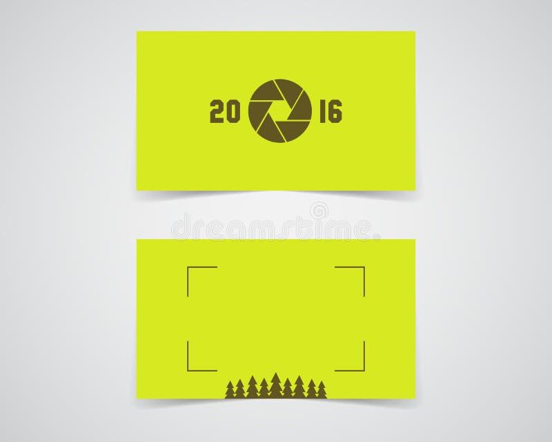 Calibre moderne de carte de visite professionnelle de visite pour le studio de photographie de nature, société d'eco Conception p illustration de vecteur