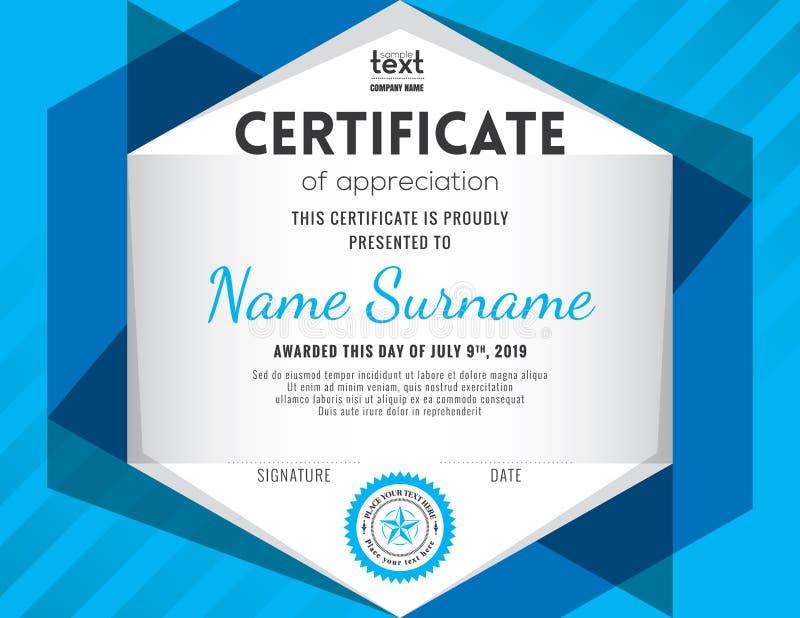 Calibre moderne de conception de fond de certificat illustration libre de droits
