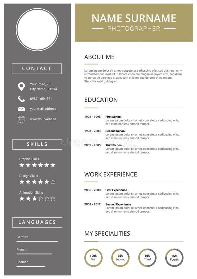 Calibre moderne de curriculum vitae avec des icônes illustration stock