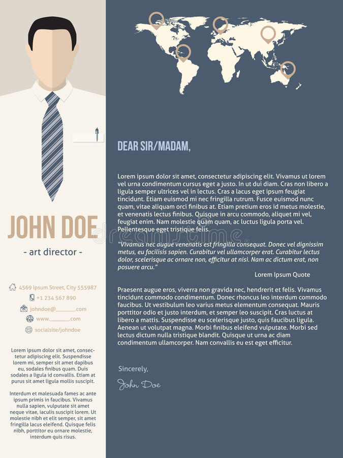 Calibre moderne de lettre d'accompagnement avec l'homme d'affaires illustration de vecteur