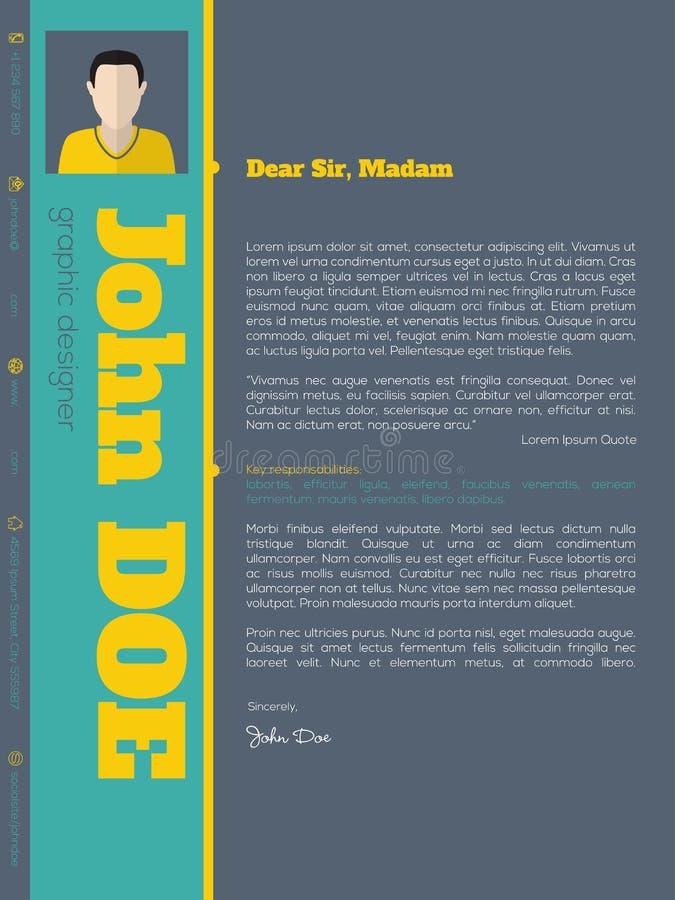 Calibre moderne de résumé de cv de lettre d'accompagnement avec des couleurs vives illustration stock