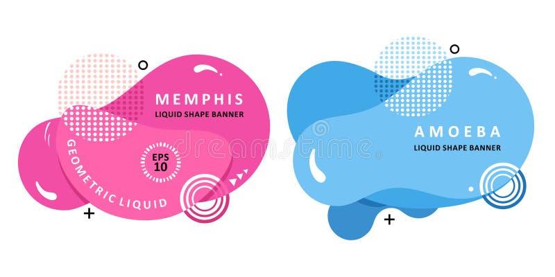 Calibre moderne de vecteur Forme de Memphis Liquid Conception d'amibe de mosa?que illustration stock