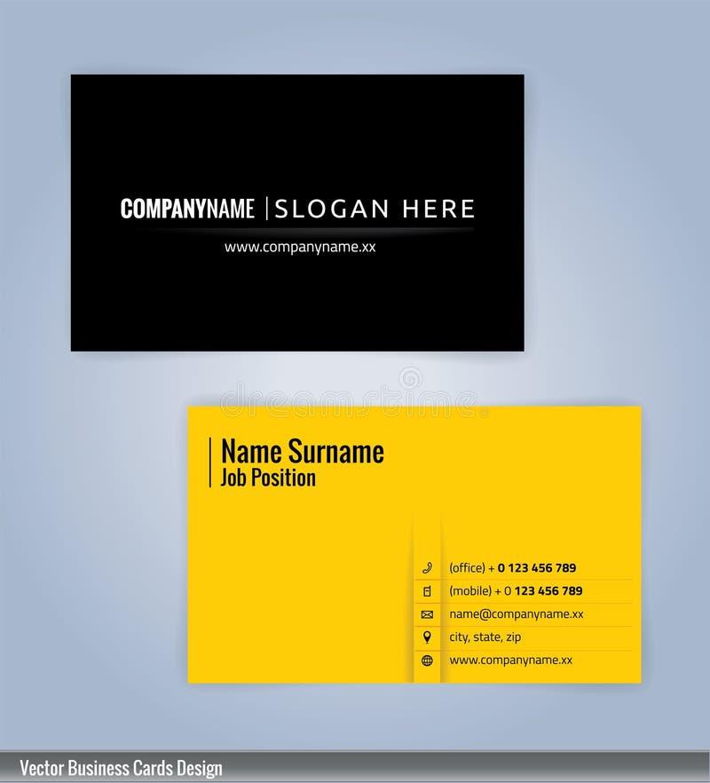 Calibre moderne jaune et noir de carte de visite professionnelle de visite illustration de vecteur