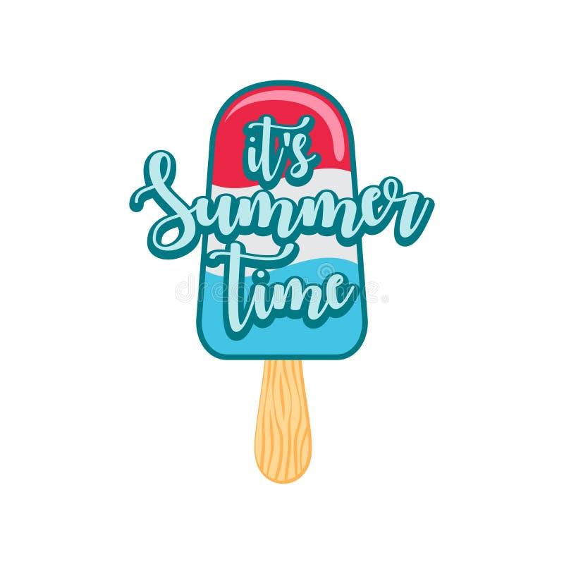 Calibre moderne unique de bannière de fond de conception d'heure d'été de glace à l'eau avec le texte c'est heure d'été illustration de vecteur