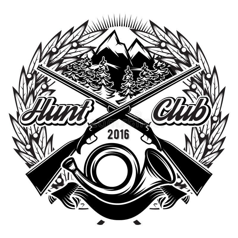Calibre monochrome élégant de club de chasse de vecteur avec le klaxon et les montagnes illustration de vecteur