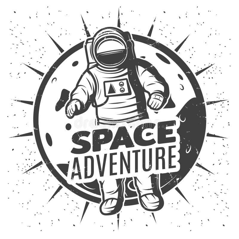 Calibre monochrome de label de recherche spatiale de vintage illustration de vecteur