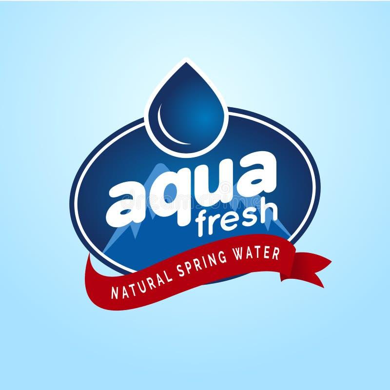 Calibre naturel emballé de label de conception de logo d'eau de source de montagne illustration libre de droits