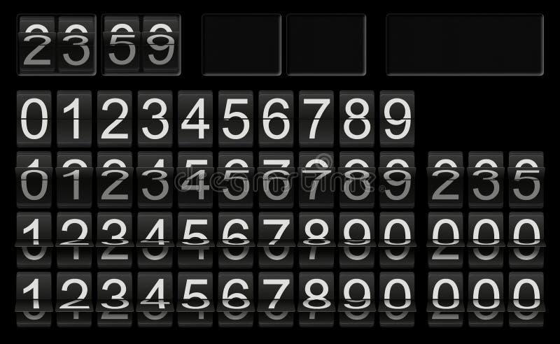 Calibre noir d'horloge de secousse avec des nombres dans différentes situations de secousse pour l'installation individuelle de t photo libre de droits