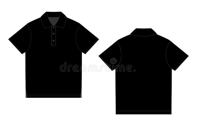 Calibre noir de conception de T-shirt de polo Avant et dos illustration stock