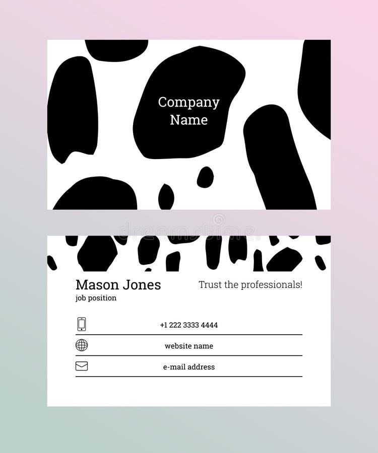 Calibre noir et blanc de carte de visite professionnelle de visite illustration stock