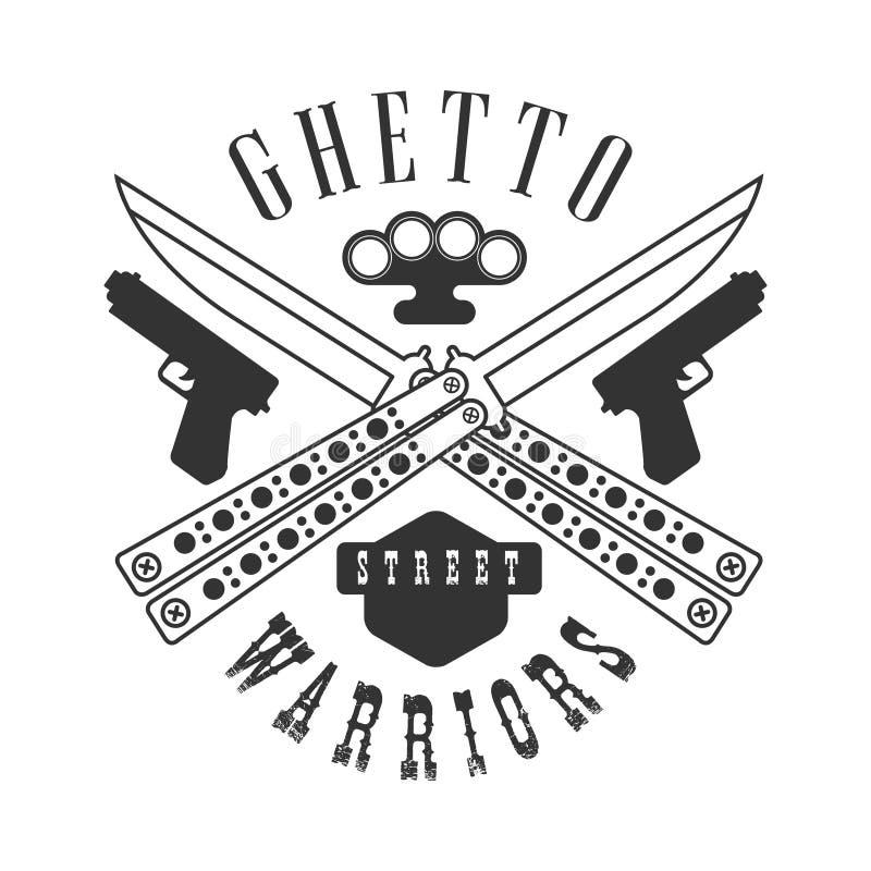 Calibre noir et blanc de conception de signe de club de guerriers de rue proscrit par criminel avec le texte illustration libre de droits